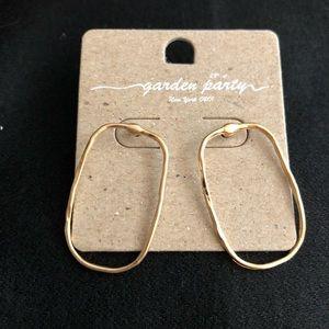 Hammered Matte Gold Drop Earrings